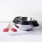 Meyer 2 Piece Set - Kitchen Hacks Stainless Steel 3 Piece Open Kadai/Wok Set + Spoonula Spatula - Pots and Pans