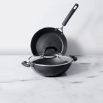 Circulon Origins 3pcs Non-Stick 20cm Frypan + Kadai with Interchangeable Glass Lid - Pots and Pans