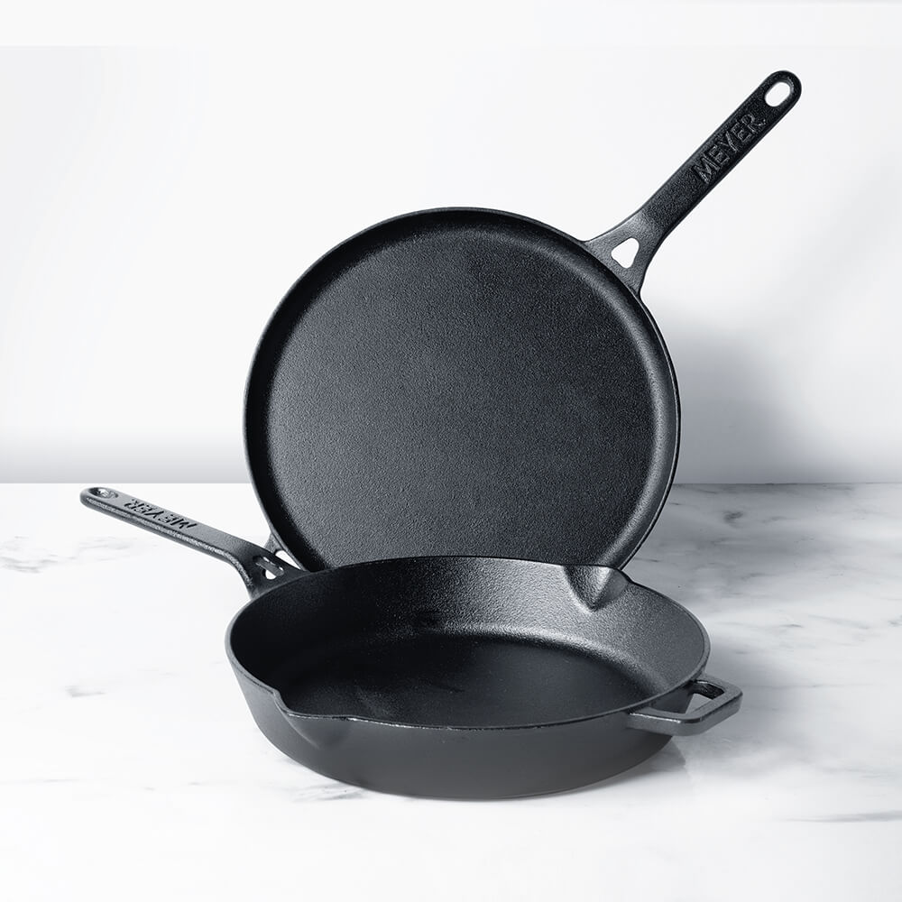 Meyer Pre-Seasoned Cast Iron 2pcs Set (28cm Flat Dosa Tawa + 26cm Frypan/Skillet) - Pots and Pans