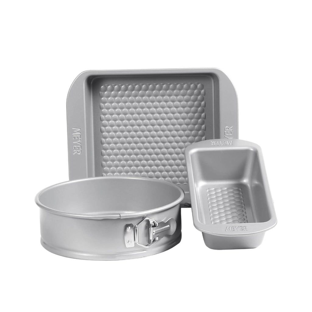 "Meyer Bakemaster 3-Piece Bakeware Set - 2 LB Loaf Tin + 23cm Springform Cake Tin + 23cm/9"" Square Cake Pan - Pots and Pans"