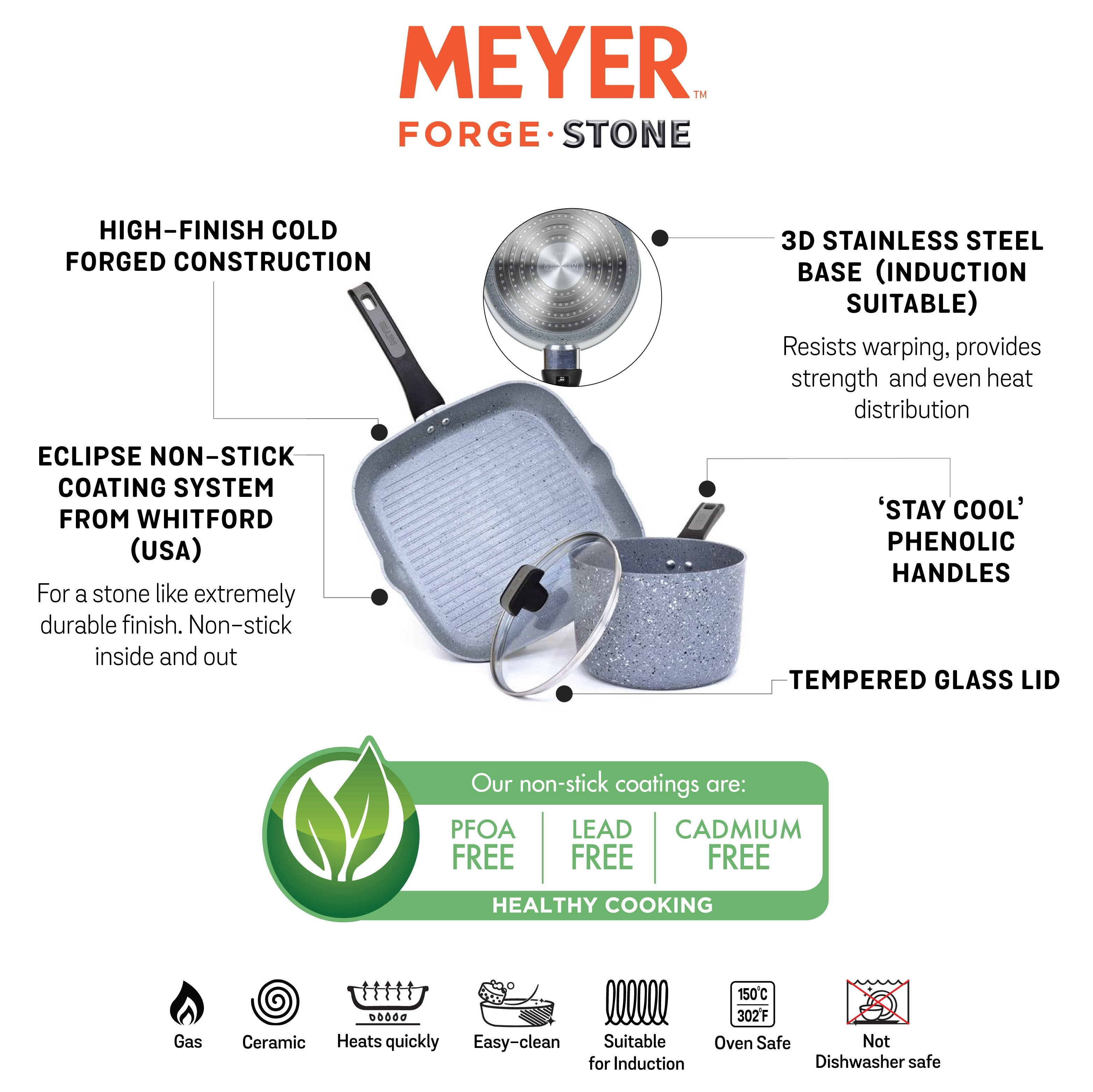 Meyer Forgestone Non-Stick 3-Piece Cookware Set (Gas and Induction Compatible) - PotsandPans