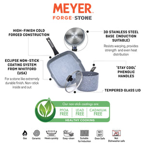 Meyer Forgestone Non-Stick 3-Piece Cookware Set (Gas and Induction Compatible) - Pots and Pans