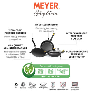 Meyer Non-Stick 4pc Cookware Set (26cm Kadai + 26cm Frypan + 26cm Curved Roti Tawa) - Pots and Pans