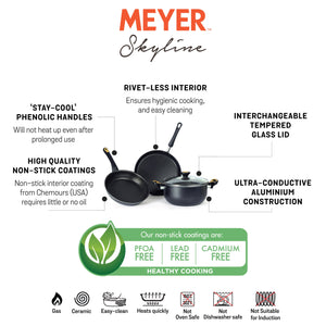 Meyer Non-Stick 4pcs Cookware Set (4.7L/24cm Casserole/Biryani Pot + 24cm Frypan + 28cm Flat Tawa) - Pots and Pans