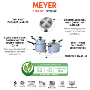 Meyer Forgestone Non-Stick Trinity Saucepan Set (Gas And Induction Compatible) - Pots and Pans