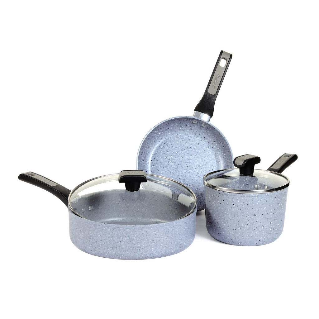 Meyer Forgestone Aluminum  Non-Stick Frypan, Saucepan and Sautepan Cookware Set Gas and Induction Compatible (Stone Grey) -5 Pieces - Pots and Pans