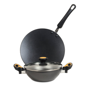 Meyer Non-Stick 3pcs Cookware Set (28cm Kadai + 26cm Curved Roti Tawa) - Pots and Pans