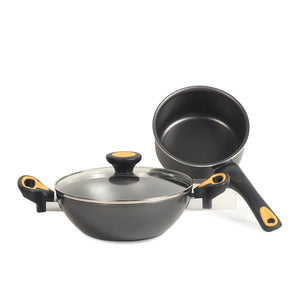 Meyer Skyline Non-Stick 3pcs Cookware Set (20cm Kadai + 14cm Milkpan) - Pots and Pans