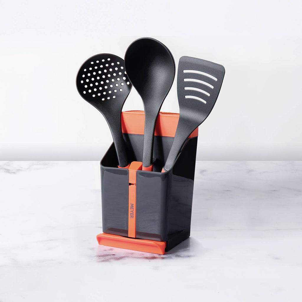 Meyer Kitchen Hacks 4-Piece Set - Knife & Utensil Station + Ladle + Slotted turner + Skimmer - Pots and Pans