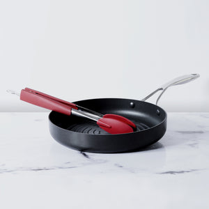 Circulon 2 Piece Non-Stick Deep Round Grill Pan 28cm (3mm Thick) +  Silicone Tongs With Stainless Steel Body, 30cm - Pots and Pans