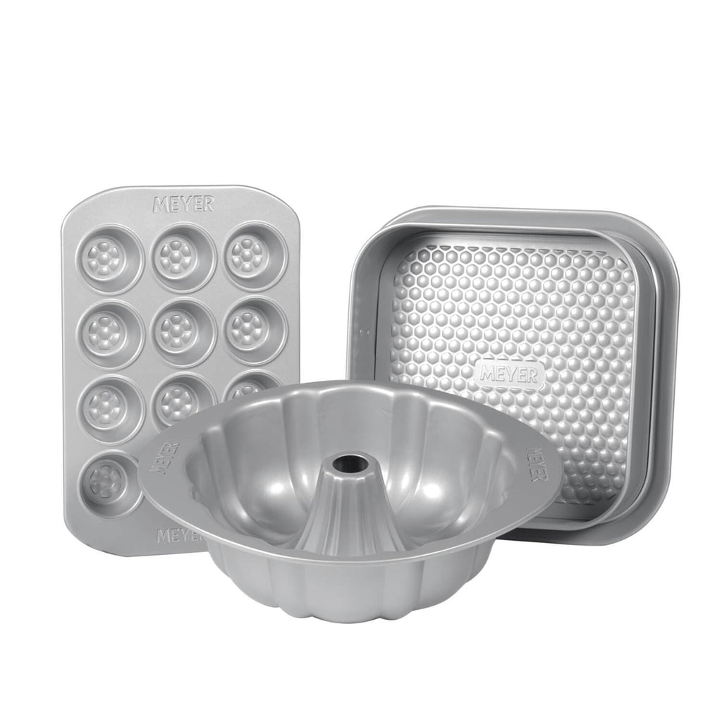 "Meyer Bakemaster 3-Piece Bakeware Set - 12 Cup Mini Muffin Pan + 25cm/10"" Fluted Mold + 23cm/9"" Square Springform Pan - Pots and Pans"