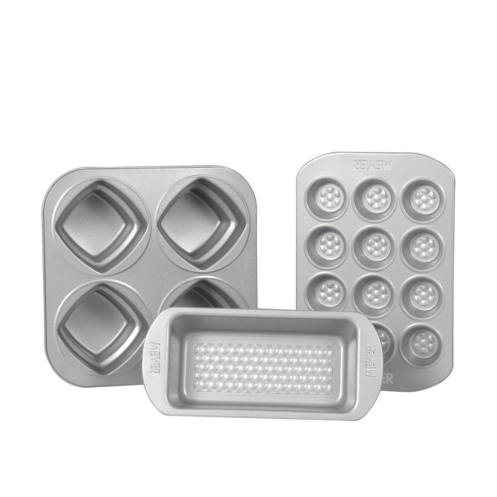 Meyer Bakemaster 3-Piece Bakeware Set - 2 LB Loaf Tin + 4 Cup 2 Tier Square Cake Pan + 12 Cup Mini Muffin Pan - Pots and Pans