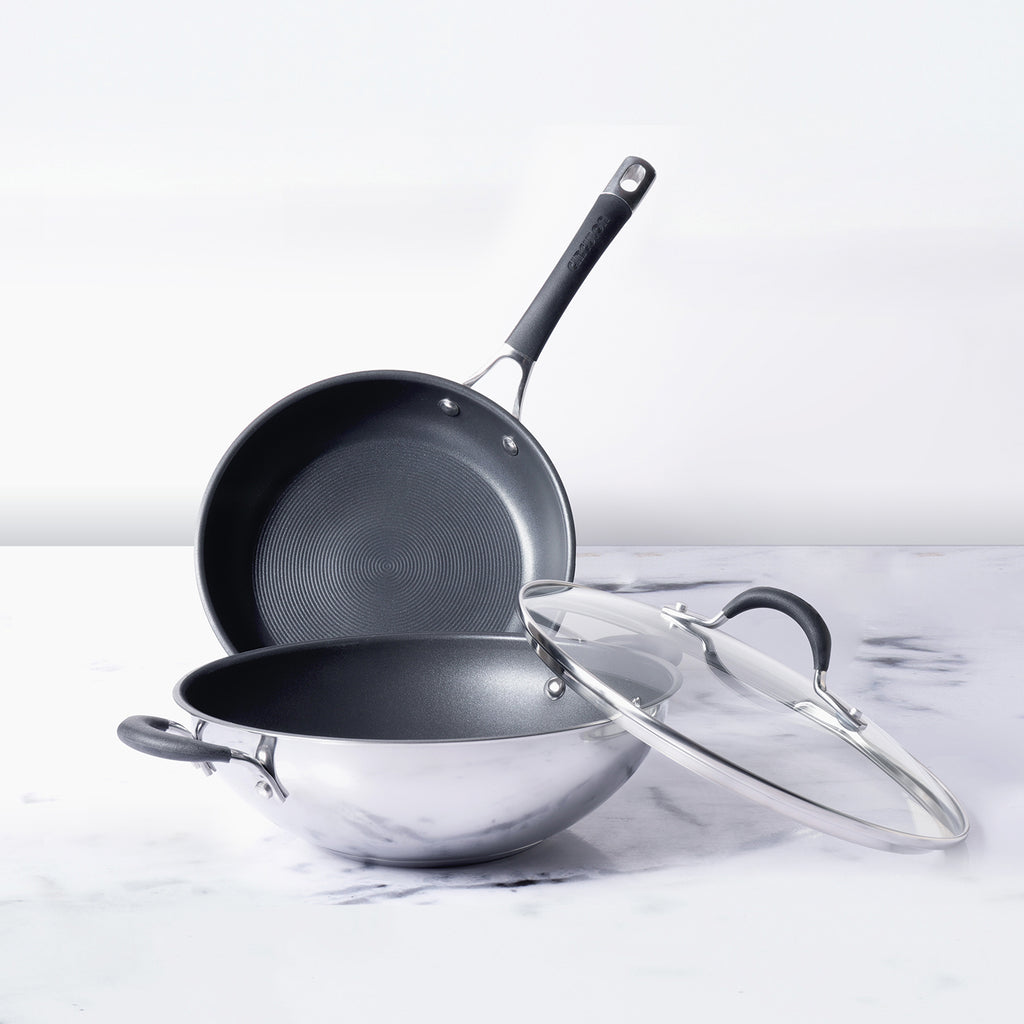 Circulon Momentum 3 Piece Set - 32cm Kadai with Lid + Open Frypan 29cm - Pots and Pans