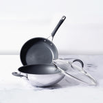Circulon Momentum 3pcs Set - 32cm Kadai/Wok with Lid + Frypan/Skillet 29cm - Pots and Pans