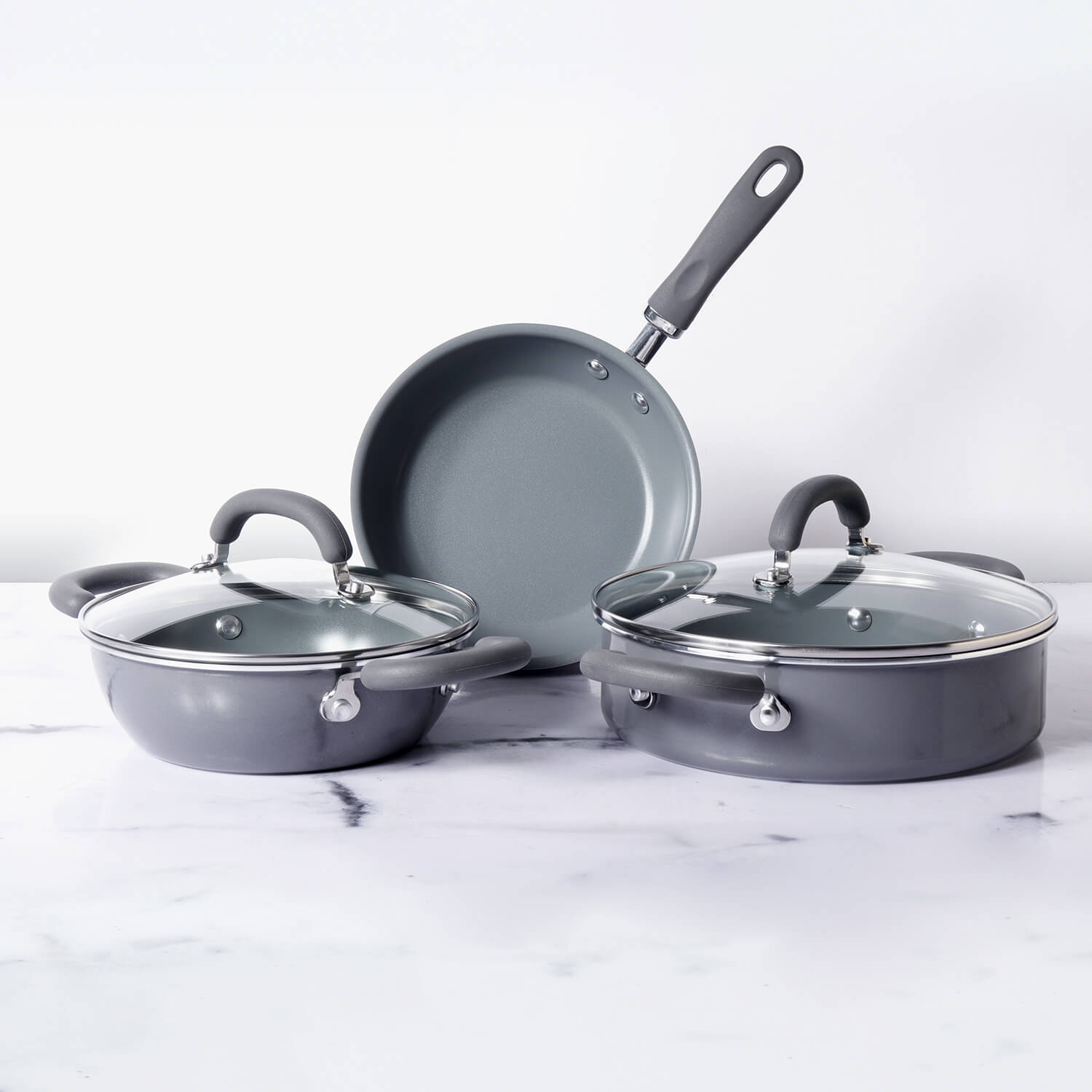 Meyer Anzen 5-Piece Set - Open Frypan + Kadai with Interchangeable Lid+ Sauteuse with Lid + - Pots and Pans