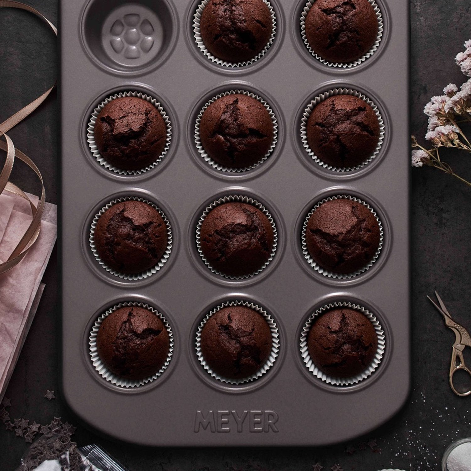 Meyer Bakemaster 2-Piece Bakeware Set - 12 Cup Mini Muffin Pan + 4Cup 2Tier Square Cake Pan - Pots and Pans