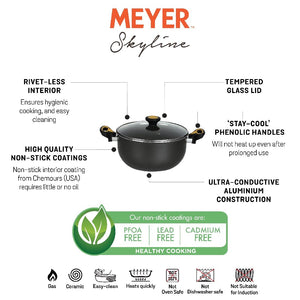 Meyer Skyline Non-Stick Casserole Biryani Pot 4.7L/24cm, Grey - Pots and Pans
