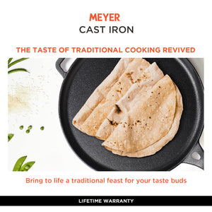 Meyer Cast Iron 2pcs Set - 26cm Curved Roti Tawa + 28cm Flat Dosa Tawa - Pots and Pans