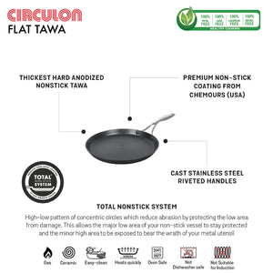 "Circulon 2 Piece Set - Circulon Non-Stick + Hard Anodized Flat Dosa Tawa (28 cm) + 12"" Tongs"