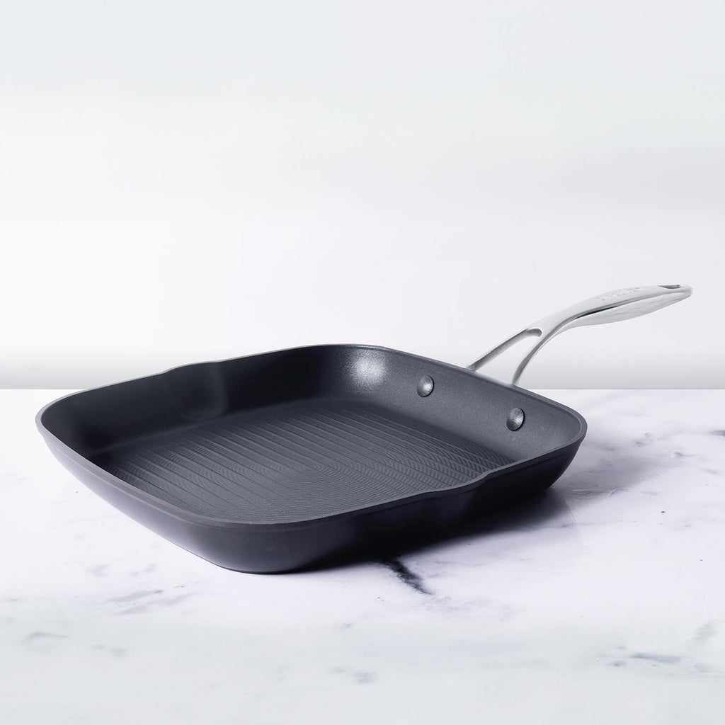 Circulon Hard Anodized Non Stick Aluminium Open Square Griddle Pan, 28cm - Pots and Pans