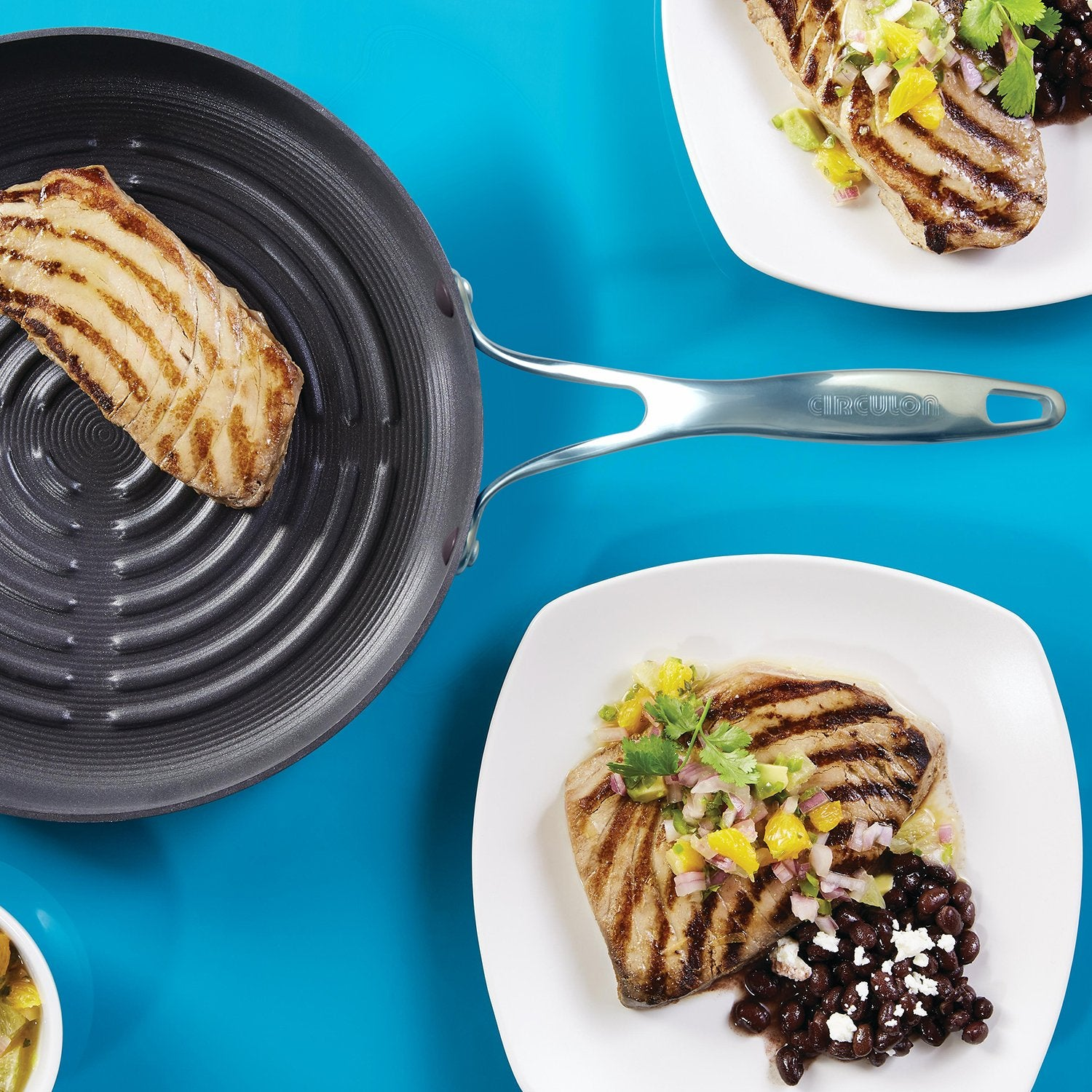Circulon Non-Stick Deep Round Grill Pan 28cm (3mm Thick) - Pots and Pans