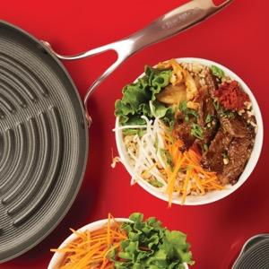 Circulon Non-Stick Deep Round Grill Pan 28cm + Glass Grill Press Set - Pots and Pans