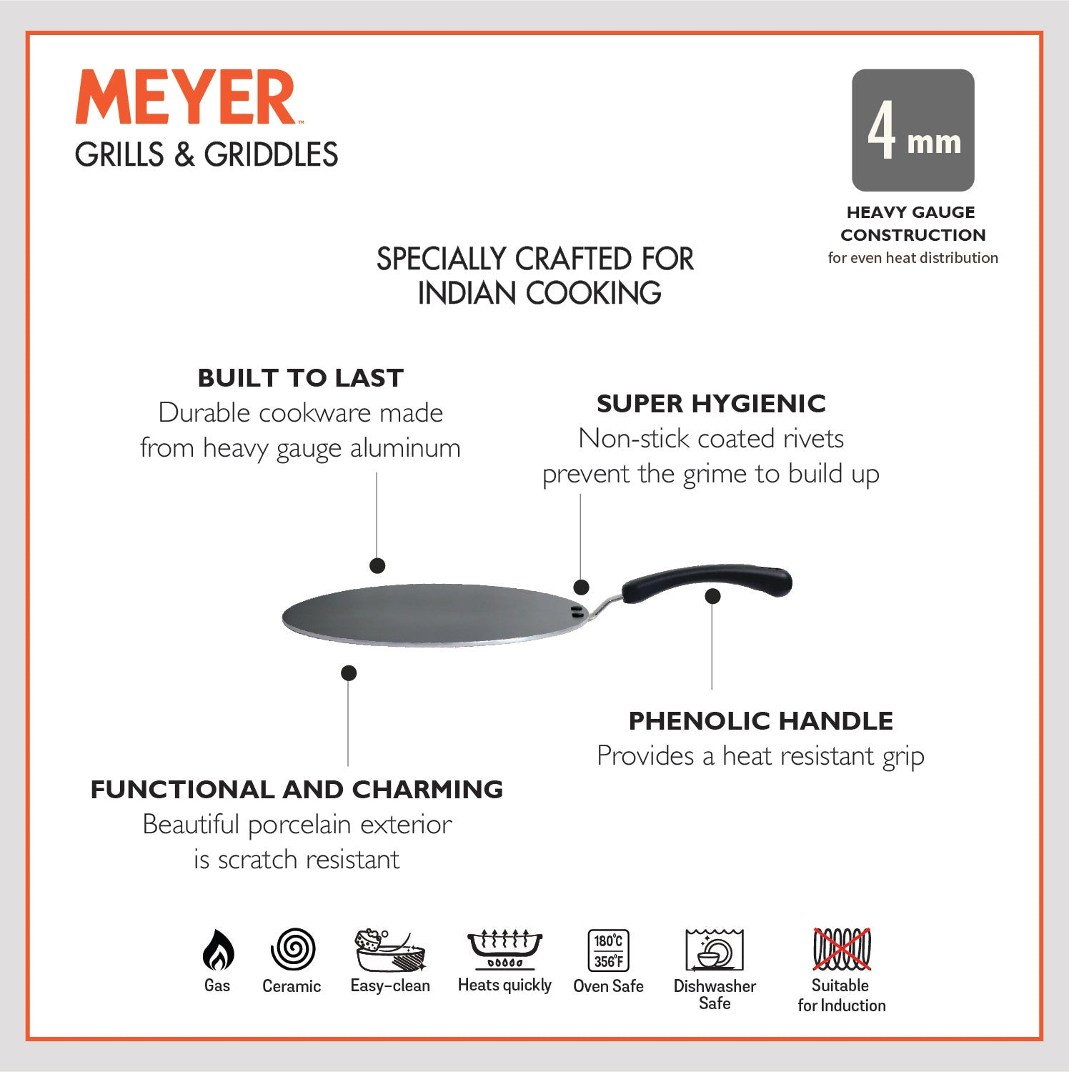 Meyer Non Stick Edge-less Flat Tawa, 30 cm - Pots and Pans