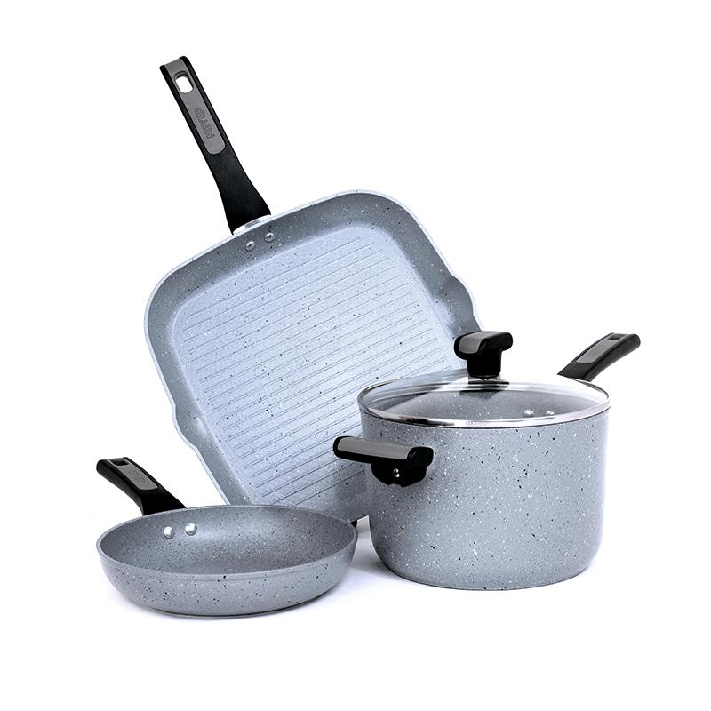 Meyer Forgestone Non-Stick 4pcs Cookware Set (20cm Saucepan + 20cm Frypan + 28cm Griddle) - Pots and Pans