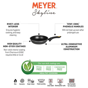 Meyer Skyline Aluminium Non-Stick Frypan 20cm, Grey - Pots and Pans