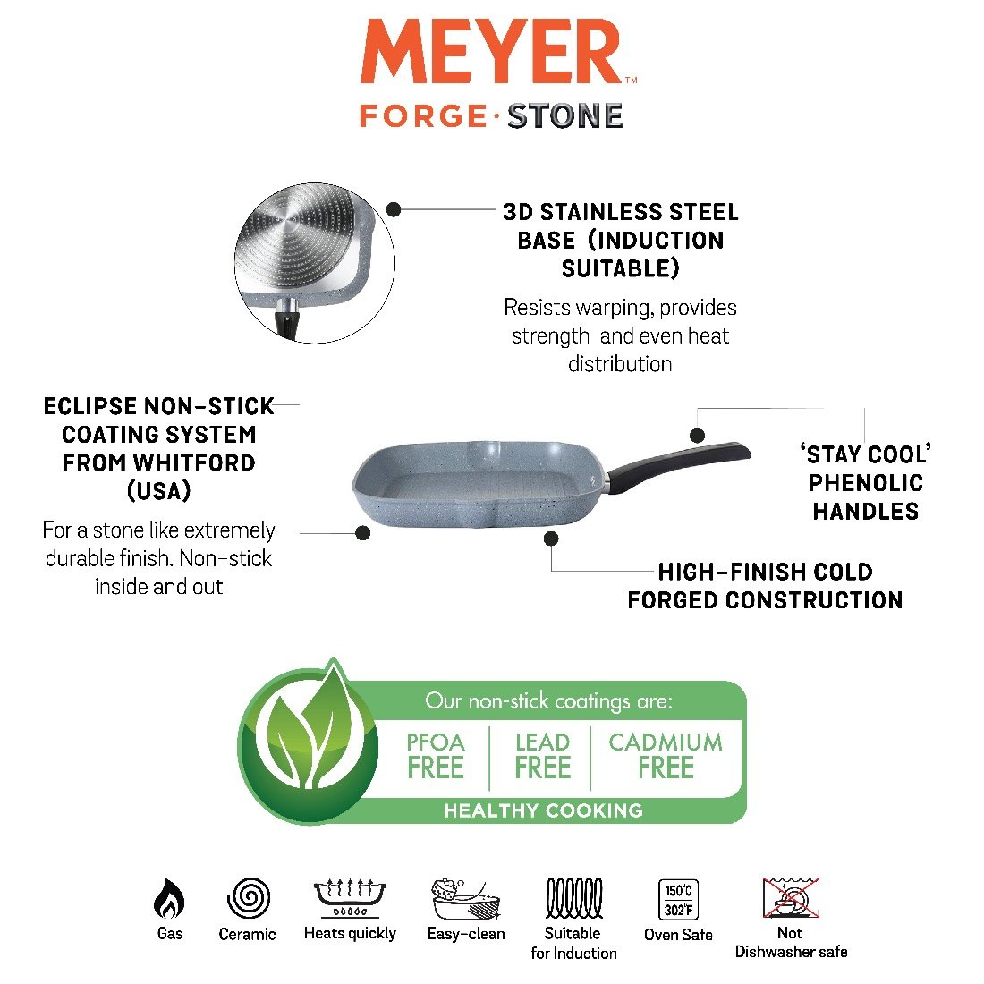Meyer Forgestone Non-Stick Flat Tawa/Square Griddle Pan 28cm, Stone Grey [Induction & Gas Compatible] - Pots and Pans