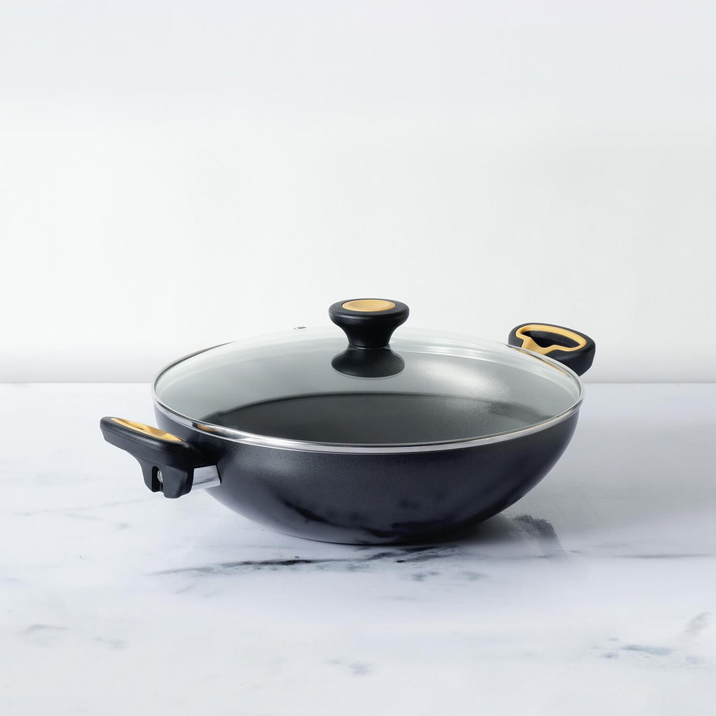 Meyer Skyline Non-Stick Kadai/Wok with Lid 26cm, Grey - Pots and Pans