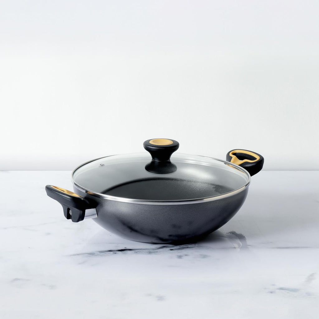 Meyer Skyline Non-Stick Kadai/Wok with Lid 20cm, Grey - Pots and Pans