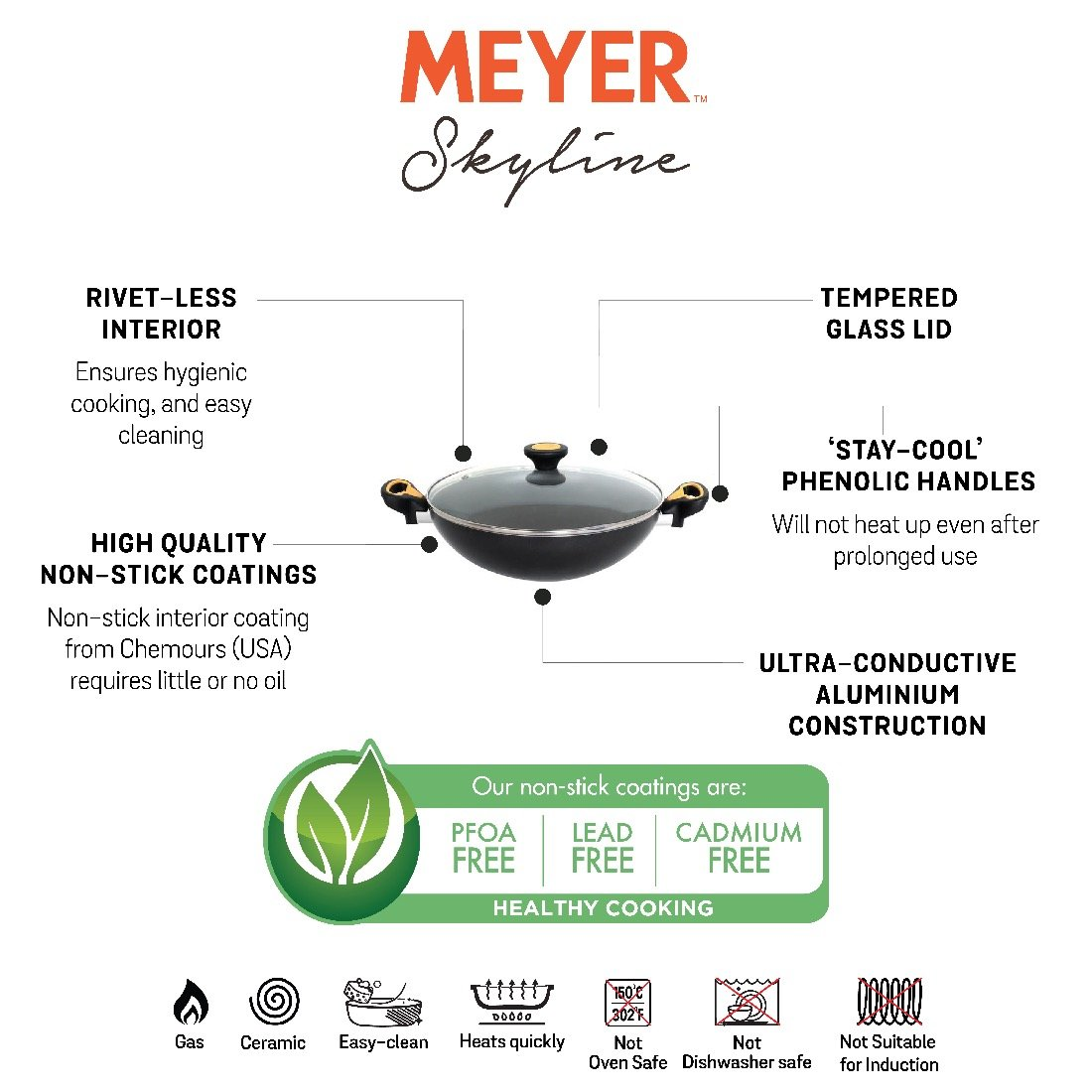 Meyer Skyline Aluminium Non-Stick Kadai/Wok 28cm, Grey - Pots and Pans