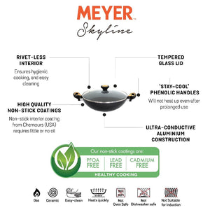Meyer Skyline Non-Stick Kadai/Wok with Lid 28cm, Grey - Pots and Pans