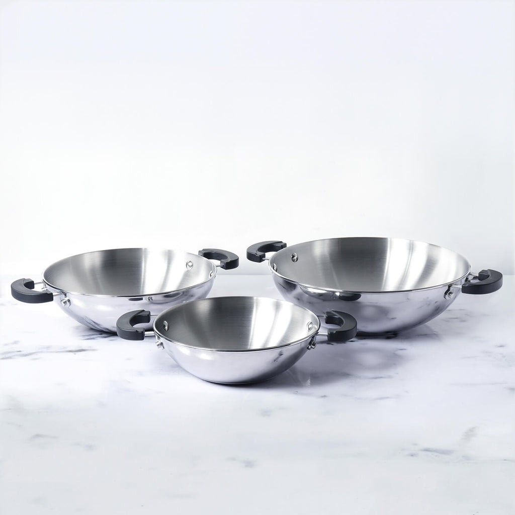 Meyer Kitchen Hacks Stainless Steel 3 Piece Open Kadai/Wok Set, (22 cm / 26 cm/ 30 cm) - Pots and Pans