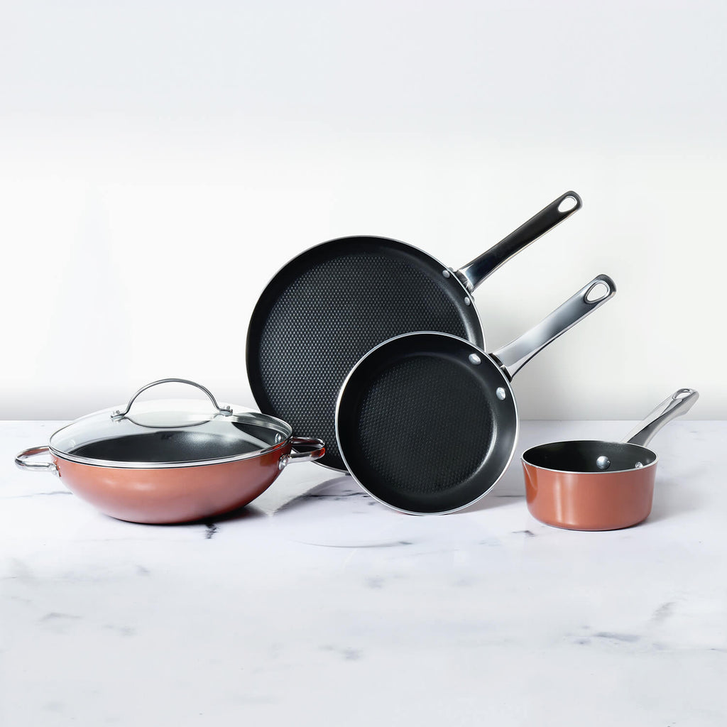 Meyer Luminescence Non-Stick 8pcs Set, Copper (Saucepan+Kadai+Frypan+Tawa+Accessories) - Pots and Pans