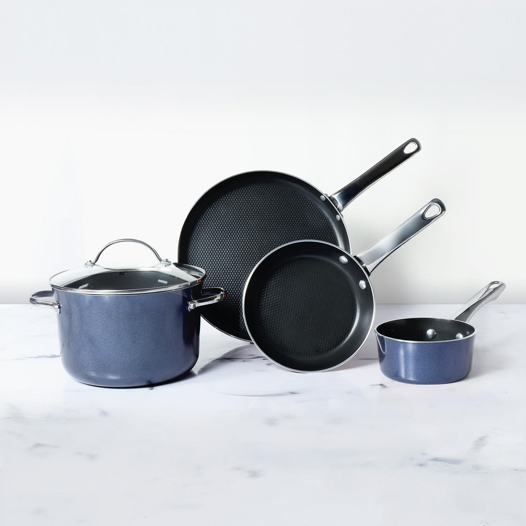 Luminescence Non-Stick 8pcs Cookware Set, Blue (Saucepan+Casserole/Biryani Pot+Frypan+Flat Tawa+Accessories)