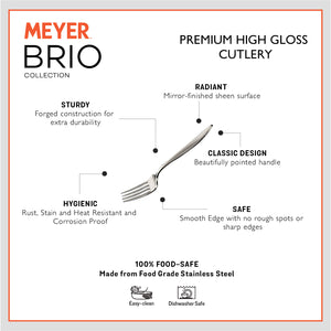 Meyer Brio 6pcs High-Gloss Stainless Steel Table Fork Set - Pots and Pans