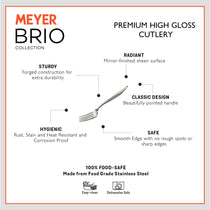 Meyer Brio 6pcs High-Gloss Stainless Steel Tea Fork Set - Pots and Pans