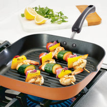 "Meyer 2-Piece Set - Grillpan 28cm + 12"" Silicone Tongs - Pots and Pans"
