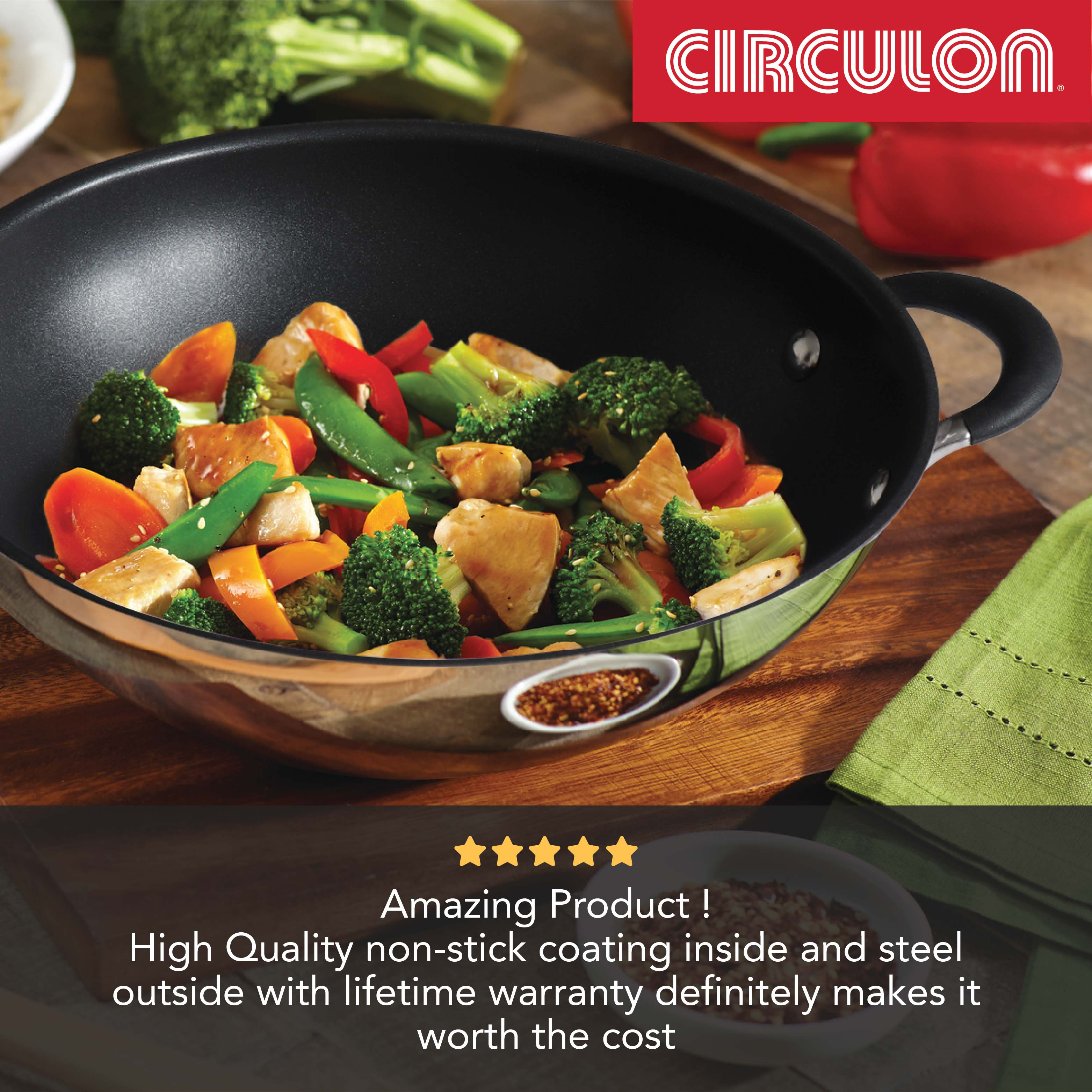 Circulon Momentum 4pcs Non-Stick Kadai Set with Lids (27cm + 32cm)
