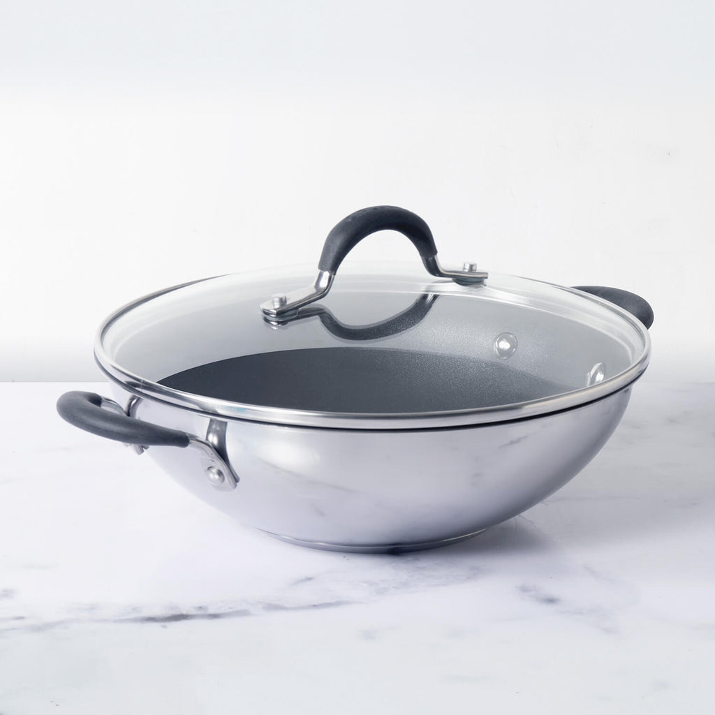 Circulon Momentum 27cm Non-Stick + Stainless Steel Kadai/Wok with Lid (Gas & Induction Compatible) - Pots and Pans