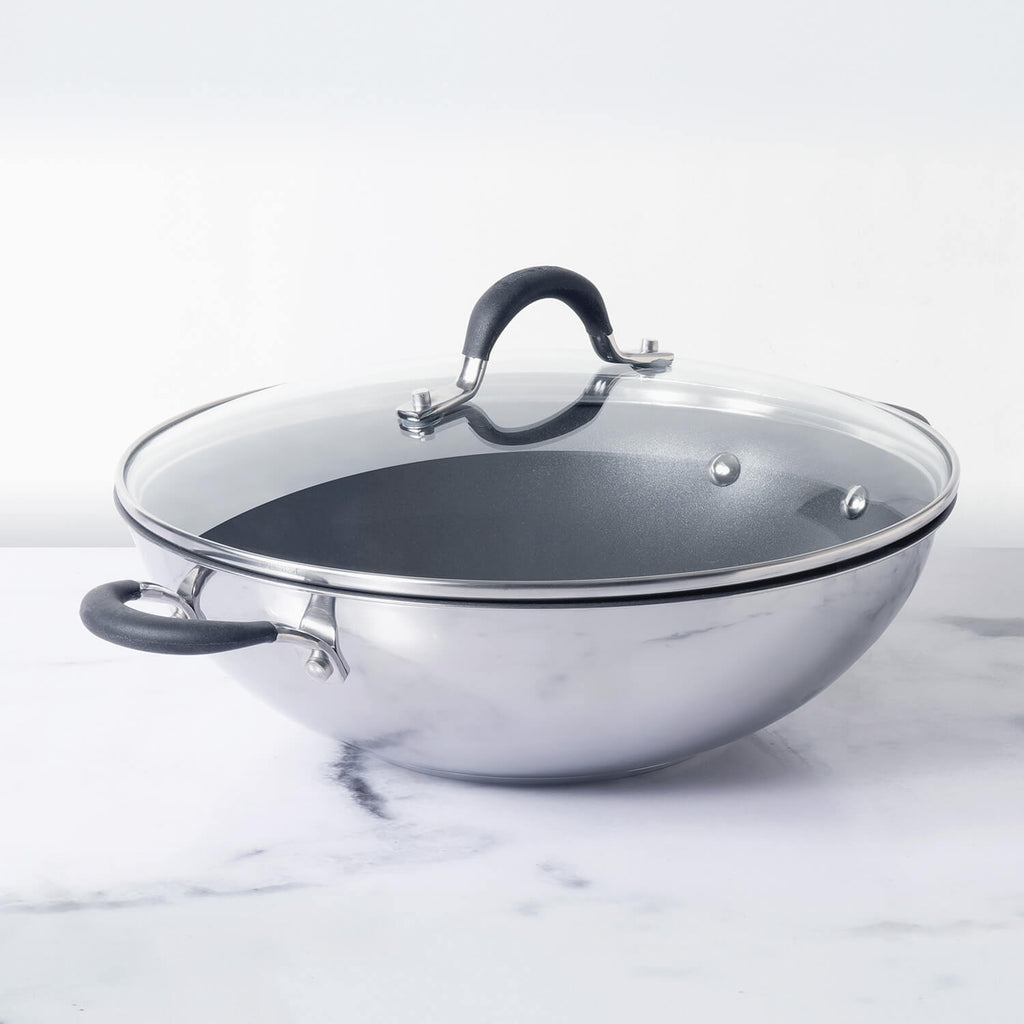Circulon Momentum 32cm Non-Stick + Stainless Steel Kadai/Wok with Lid (Gas & Induction Compatible) - Pots and Pans