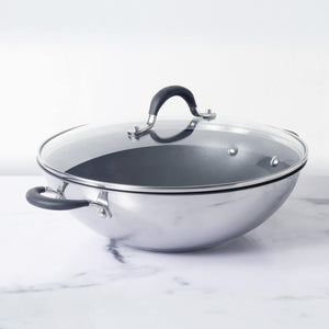Circulon Momentum Non-Stick + Stainless Steel Kadai/Wok 32cm (Gas & Induction Compatible) - Pots and Pans