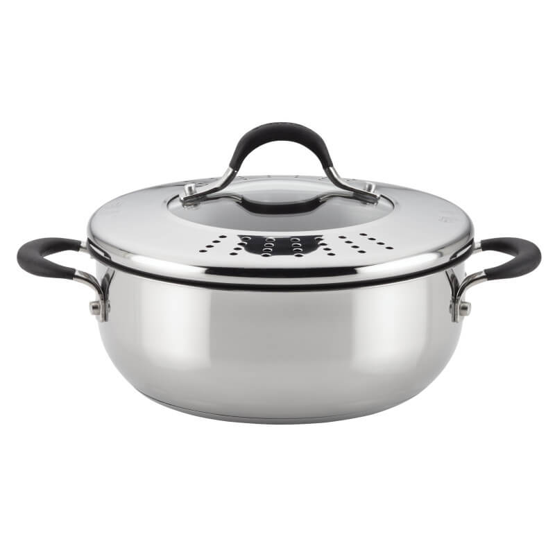 Circulon Momentum 24cm Non-Stick Casserole with Locking Straining Lid - Pots and Pans