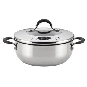 Circulon Momentum Non-Stick + Stainless Steel Casserole With Straining Lid, 24cm (Gas & Induction Compatible) - Pots and Pans