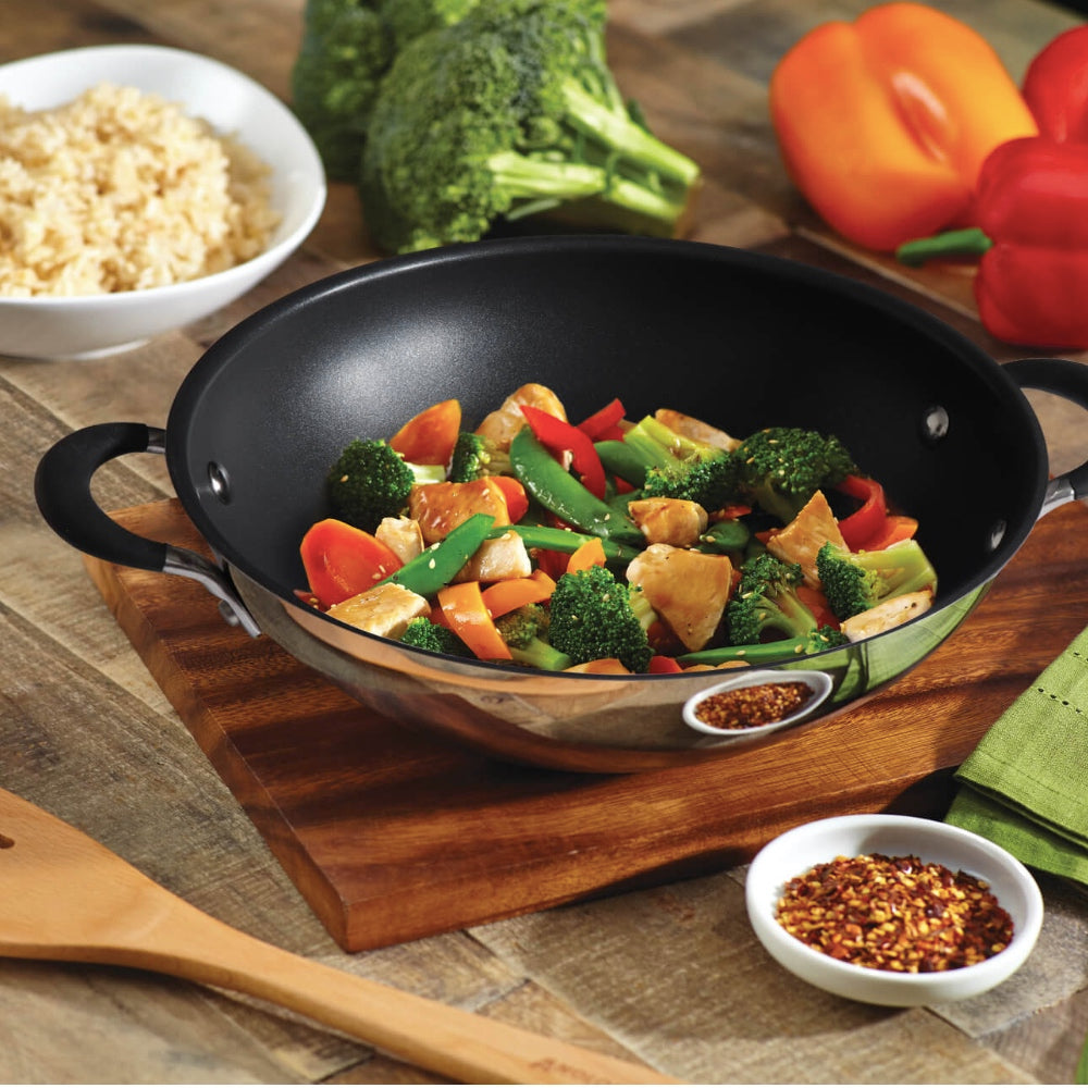 Circulon Momentum 23cm Non-Stick + Stainless Steel Kadai/Wok with Lid (Gas & Induction Compatible) - Pots and Pans