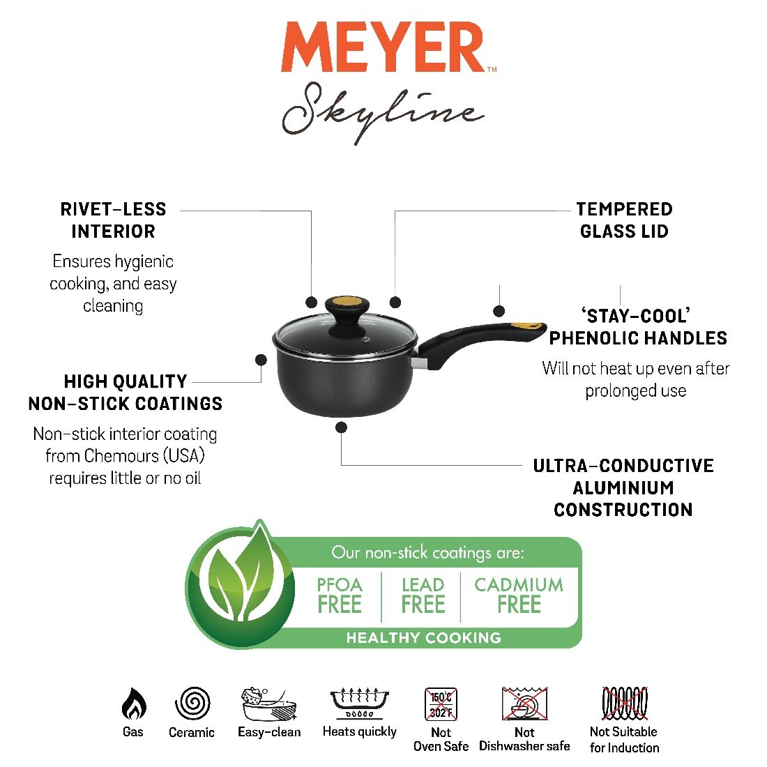 Meyer Skyline Non-Stick Saucepan with Lid 1.4 Litres/16cm, Grey - Pots and Pans