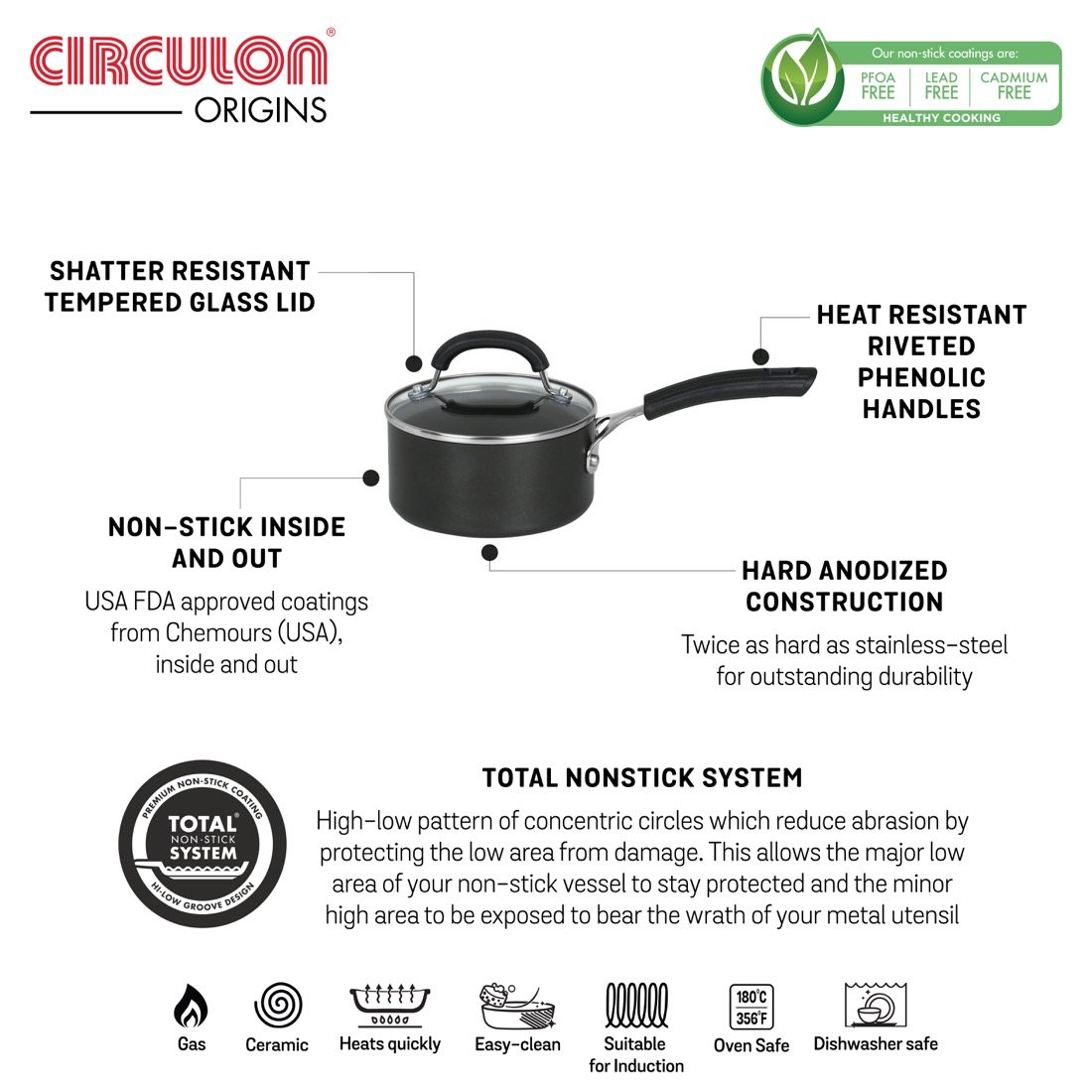 Circulon origins non-stick + hard anodized saucepan advantages