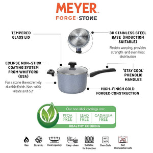 Meyer Forgestone Non-Stick Saucepan 20cm, Stone Grey [Induction & Gas Compatible] - Pots and Pans